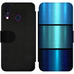 Samsung Galaxy A40 Wallet Slim Case Blue Metallic Stripes