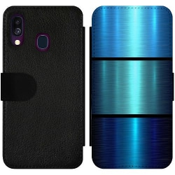 Samsung Galaxy A40 Wallet Slim Case Blue Metallic Stripes