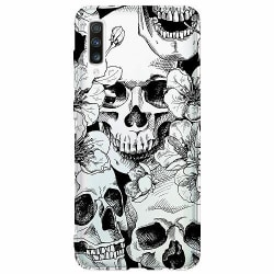 Samsung Galaxy A50 Thin Case White Skulls & Flowers