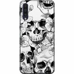 Samsung Galaxy A50 Thin Case White Skulls & Flowers