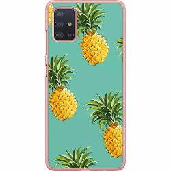 Samsung Galaxy A51 Hard Case (Transparent) Pineapples Teal