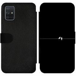 Samsung Galaxy A71 Wallet Slim Case Minimalist Birds Black