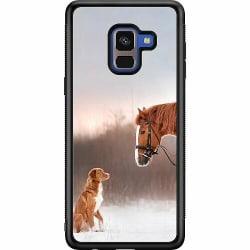 Samsung Galaxy A8 (2018) Soft Case (Svart) Häst & Hund
