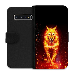 Samsung Galaxy S10 Wallet Case Fire Wolf