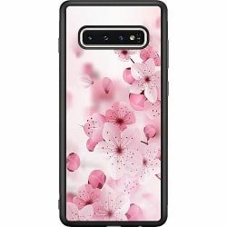 Samsung Galaxy S10 Soft Case (Svart) Cherry Blossom