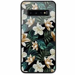 Samsung Galaxy S10 Svart Mobilskal med Glas Blommor