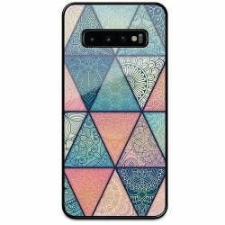 Samsung Galaxy S10 Svart Mobilskal med Glas Mandala triangles