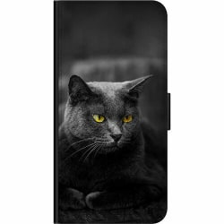 Huawei P40 Lite E Wallet Case Black Cat