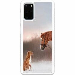Samsung Galaxy S20 Plus Soft Case (Vit) Häst & Hund