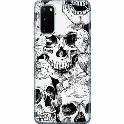Samsung Galaxy S20 Thin Case White Skulls & Flowers