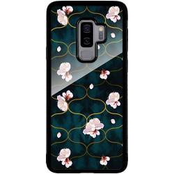 Samsung Galaxy S9+ Svart Mobilskal med Glas Blommor