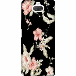 Sony Xperia 10 Thin Case Floral Pattern Black