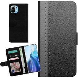 Xiaomi Mi 11 Billigt Fodral Black & Grey Leather