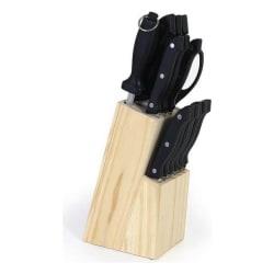 Set med köksknivar och hållare (15 pcs)