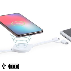 USB-kabel med trådlös USB-C-laddare och Lightning Vit White