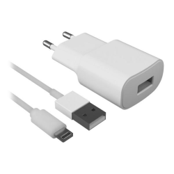 Väggladdare + lightning MIFI-kabel Contact 2.1A Vit Vit