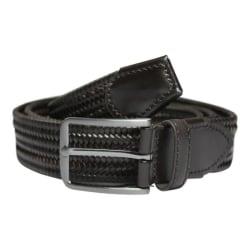 No1 Elastiskt bälte/skärp Mörkrun Äkta Läder  3 olika längder  Brown Längd: 100 cm  (100-130 cm)