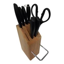 No1 Knivset Svart 7-Delar med Knivblock i trä med bärhandtag