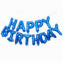 Happy Birthday folieballongs girlang, Blå