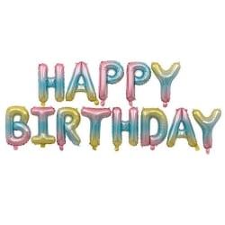 Ballonger 'Happy Birthday' - Regnbåge MultiColor