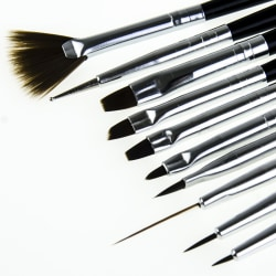 10st Akryl/UV Penslar naglar - Svarta Svart