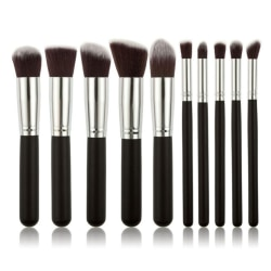 10st Professionella sminkborstar, make up set - Silver Silver