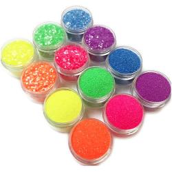 12 st burkar glitter för nageldekoration finkornigt / hexagon