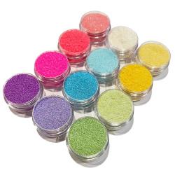 12st burkar finkornigt glitter - Pastell - Neon multifärg