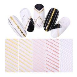 2st Nagelstickers stripes nageldekorationer - Rosé silver guld Silver