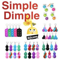 3st Multipack - Simple dimple, MINI Pop it Fidget Finger Toy- CE multifärg