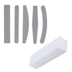 5st nagelfilar dubbelsidiga - 100/180 + Bufferfil  grå