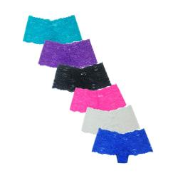 6-pack hipsters spetstrosor, 6 olika färger! multifärg S