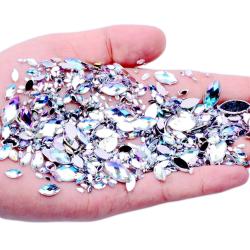 600st rhinestones nageldekorationer - Mixad påse Silver