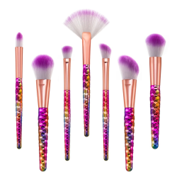 7st sminkborstar flerfärgade, makeup brushes, Unicorn multifärg