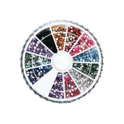 Naglar Rhinestone hjul 1500st 2mm glittrande sten 12 färger MultiColor
