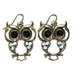 Örhängen Ugglor brons och svarta ögon rhinestone stenar mode
