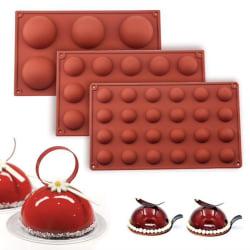 Silikonform - Kula / Halvklot 6/15/24 - Is/Choklad/Geléform Brown 15 Kulor
