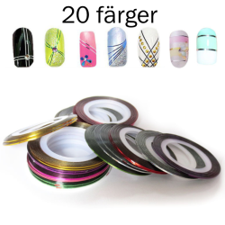 Striping tape , nageltejp , nageldekorationer 20 färger 2. Silver