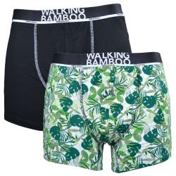 2-Pack Boxerkalsonger Bambu Svart/Grön L