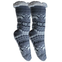 2-Pack Mysiga och varma strumpor med halkskydd Grå 36-42