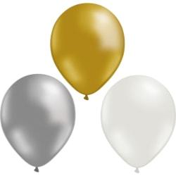 """Ballonger 12-pack Guld, Silver och Vit - 30 cm (12"""")   multifärg"""
