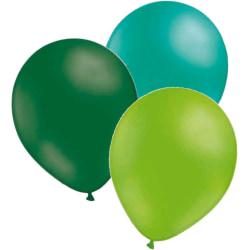 Ballonger 24-pack  - 3 färger smaragdgrön-havsgrön-limegrön multifärg