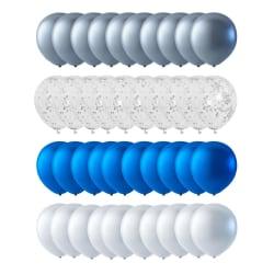 Ballonger 40-pack Silver, Konfetti, Blå Metallic och Pärlemovit multifärg