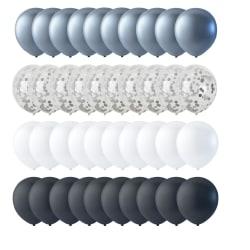 Ballonger 40-pack Svart, Vit, Konfetti och Silver 30 cm (12 tum) multifärg