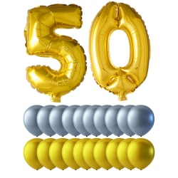 Ballonger födelsedag mix 50 år guld/silver multifärg
