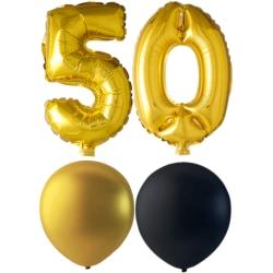 Ballonger födelsedagsmix 50 år guld/svart multifärg