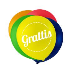 Ballonger i blandade färger med texten 'Grattis' multifärg