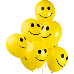Ballonger Latex Gul Smiley - 8-pack  Gul