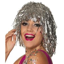 Glitter Peruk | Glitter Wig | Tinsel Wig Silver