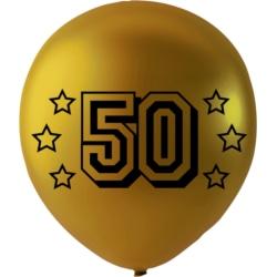 Sassier - Födelsedag Ballonger Guld metallic med text 50  Guld